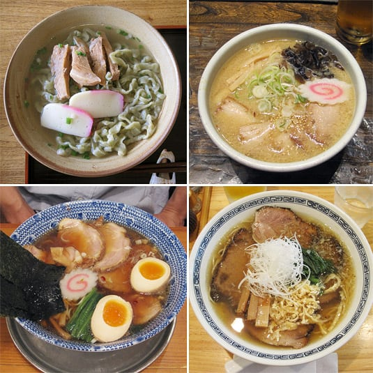 4 different ramen soups, clockwise from left: Okinawa soba on Ishigaki Island; Charshu miso ramen at Santoka, Kyoto; Shio (salt) ramen at Tenkuu, Tokyo; Shōyu (soy sauce) ramen in Kyoto.