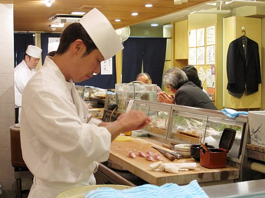 The sushi chef, working his magic. Watching him work so quickly and precisely was more entertaining than watching a movie.