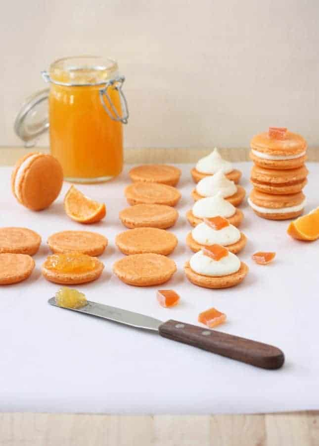 Clementine Macarons, with Two Choices of Filling: Clementine Jelly, or Clementine Buttercream // FoodNouveau.com