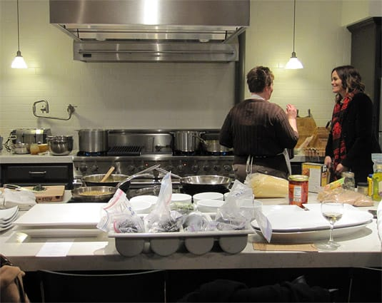 When we arrived, the cooks were busy in a kitchen that looked a little bit messy, as any kitchen that is used to prepare something delicious should. (At the Viking Cooking School, Salt Lake City)