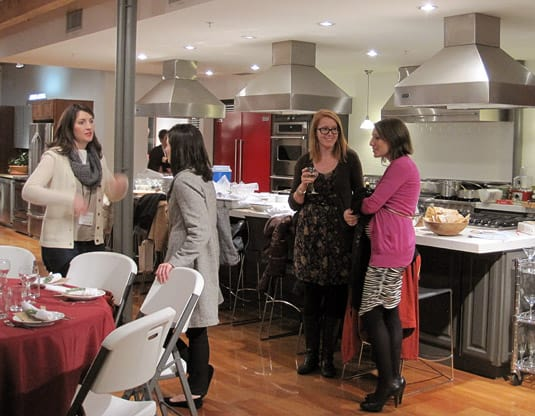 Guests (Merrilee, Danyelle, Hillary & Melanie) mingling before the meal starts. (At the Viking Cooking School, Salt Lake City)