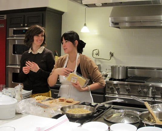 The second half of the cooking duo, Jennifer, with their generous and friendly helper throughout the night, Becky. (At the Viking Cooking School, Salt Lake City)