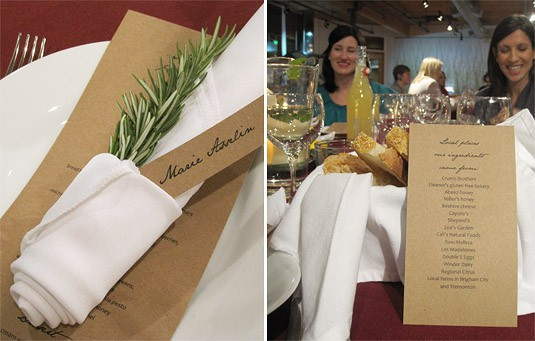 Loved the fragrant rosemary branch that added a pop of color to each place setting {an easy idea to do at home!}. (At Café Johnsonia & Delightful Delicacies' Altitude Summit Dinner, Salt Lake City)