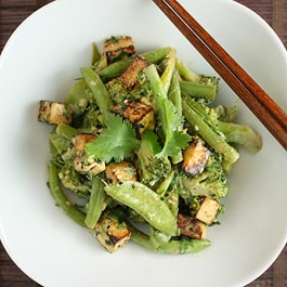 Green Vegetables, Miso and Sweet Sesame Salad