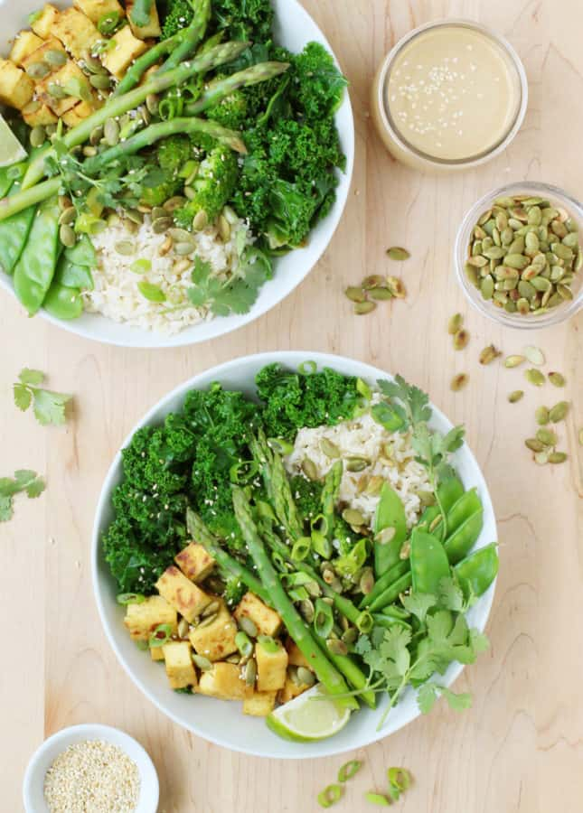 Green Buddha Bowl with Tahini Miso Dressing // FoodNouveau.com