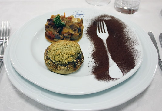Traditional Sicilian caponata and a stuffed mushroom
