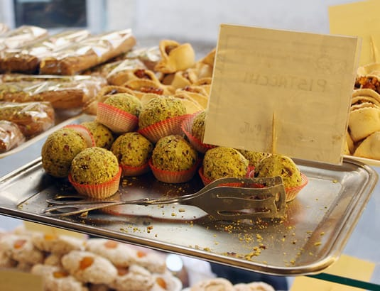 Sicily makes lots of pistachio-based cookies, such as these pistachio balls.