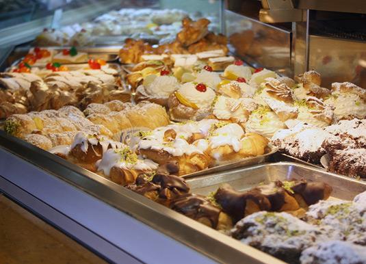 Savia's pastry and cake display, Catania, Sicily