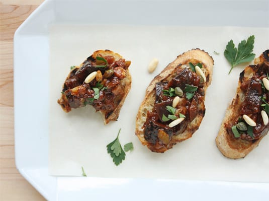 Sicilian Caponata served on grilled bread as a classic antipasto (appetizer)