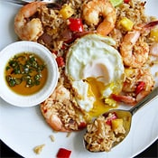 Nam Prik Pao Fried Rice with Shrimp and Pineapple, by SheSimmers, Thai Home Cooking