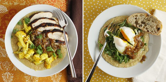 Curried Red Onion Jam with Simple Dal two ways: with grilled chicken and roasted cauliflower on the left; with a poached egg and arugula lightly dressed with lemon juice and olive oil on the right.