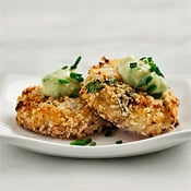 Asian crab cakes with avocado-wasabi sauce, by Love & Lemons