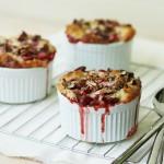 Rhubarb, Strawberry and Pecan Pudding Cakes / FoodNouveau.com