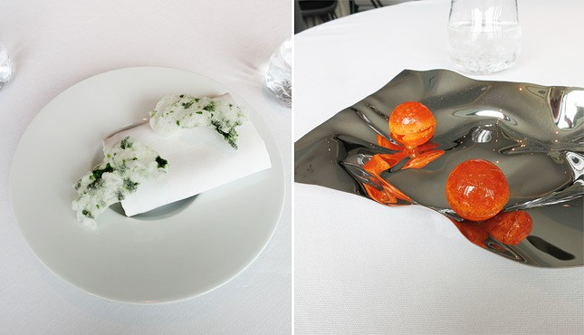 Left: 1st course, Seaweed Potato Chips / Right: 2nd course, Candied Carrot Shell Filled with Seabuckthorn Foam, at Geranium Restaurant, Copenhagen / FoodNouveau.com