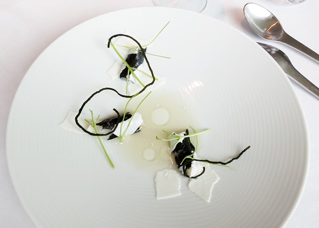 9th course: Hake, horseradish juice and herb stems, at Geranium Restaurant, Copenhagen / FoodNouveau.com