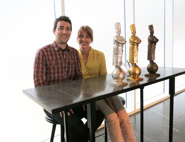 Sitting by the Bocuse d'Or statuettes, at Geranium Restaurant, Copenhagen / FoodNouveau.com