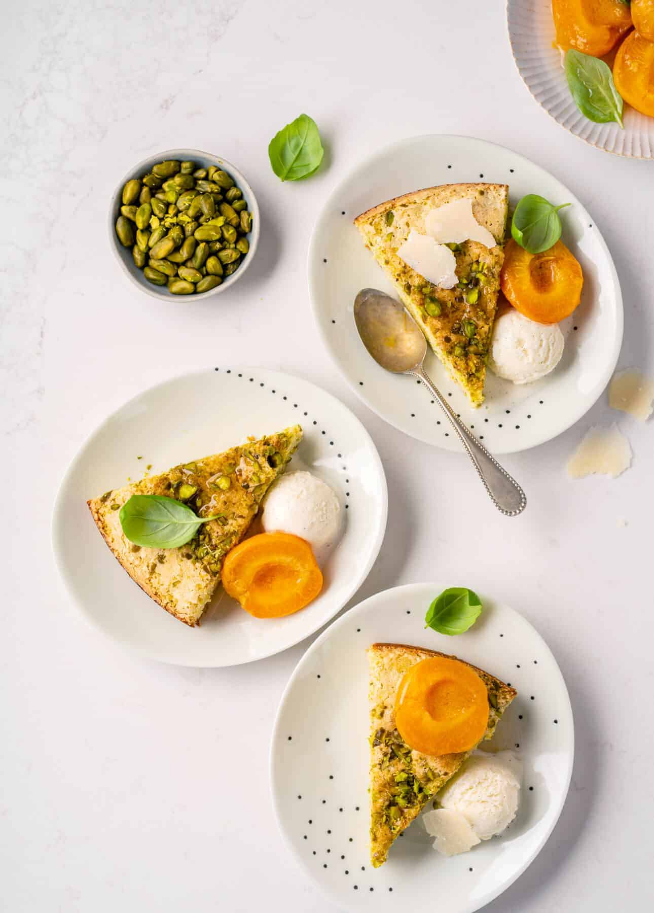 Parmesan Pistachio Cake with Basil-Infused Stewed Apricots