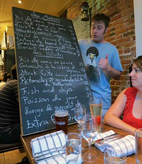At Patente et Machin, servers carry the large and heavy blackboard to every table and proceed to describe each dish with great verve and gestures that mimic a chef's mannerisms. / FoodNouveau.com