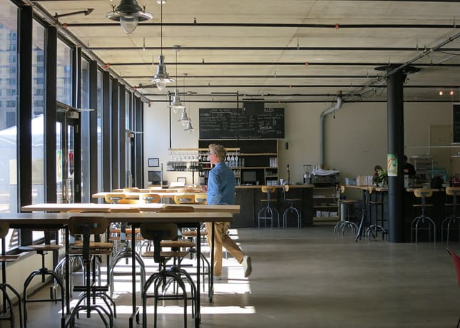 Inside the Société des arts technologiques, downtown Montreal / FoodNouveau.com