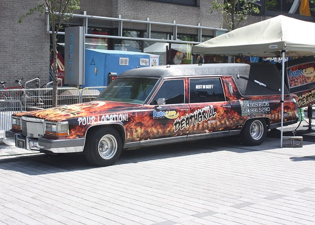 "Probably the most photographed ""truck"" at the Souk: Death Grill, fitted in a hearse (!). / FoodNouveau.com"