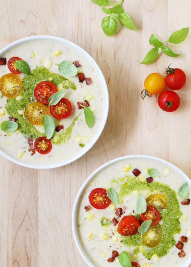 Sweet Corn Chowder with Lemony Pesto // FoodNouveau.com