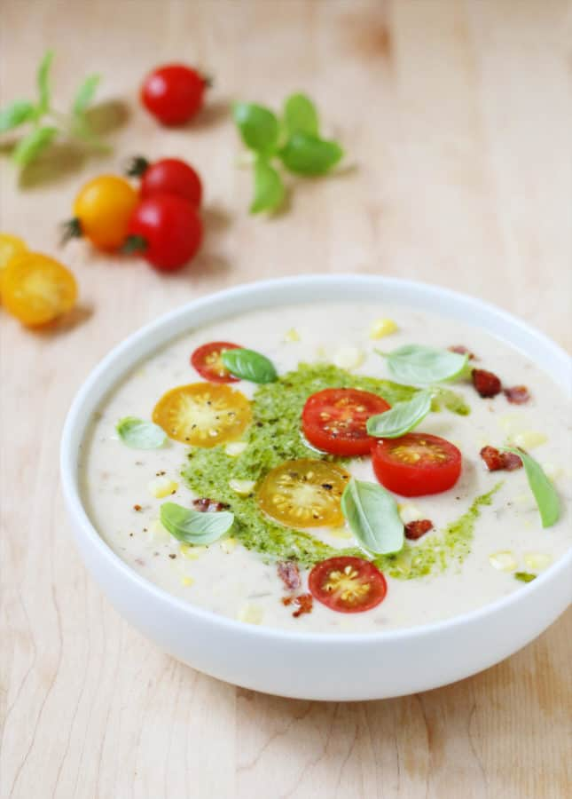 Sweet Corn Chowder with Lemony Pesto // FoodNouveau.com