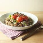 Roasted Cherry Tomato, Chorizo and Green Pea Red Wine Risotto / FoodNouveau.com