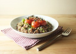 Roasted Cherry Tomato, Chorizo and Green Pea Red Wine Risotto