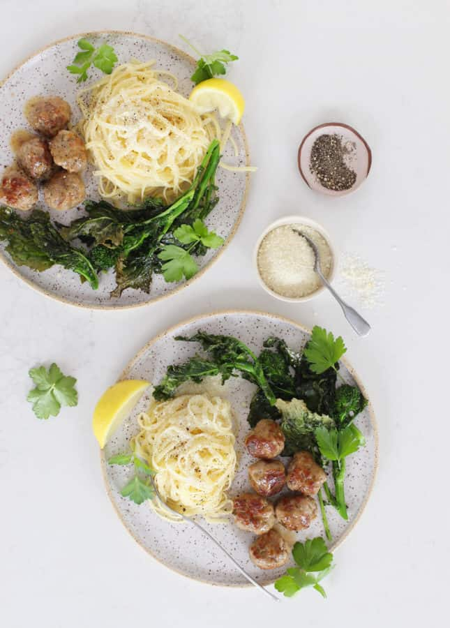 Caramelized Lemon Meatballs with Roasted Broccoli Rabe // FoodNouveau.com