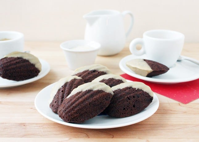 Mocha Madeleines with White Chocolate Glaze // FoodNouveau.com