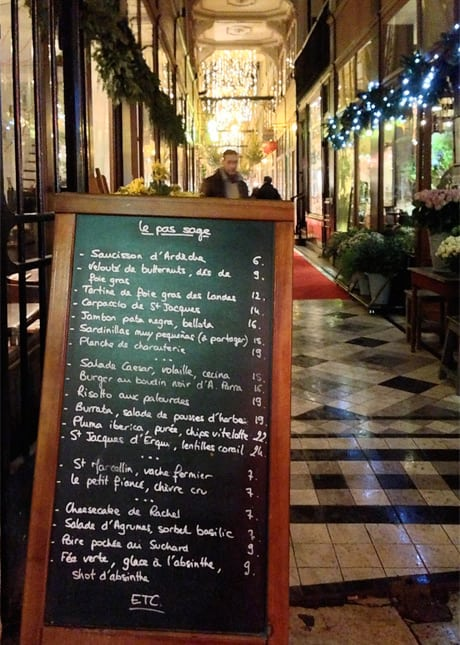 The menu of Café Le Pas Sage, a hip and chic wine bar in Le Passage du Grand Cerf, Paris // FoodNouveau.com