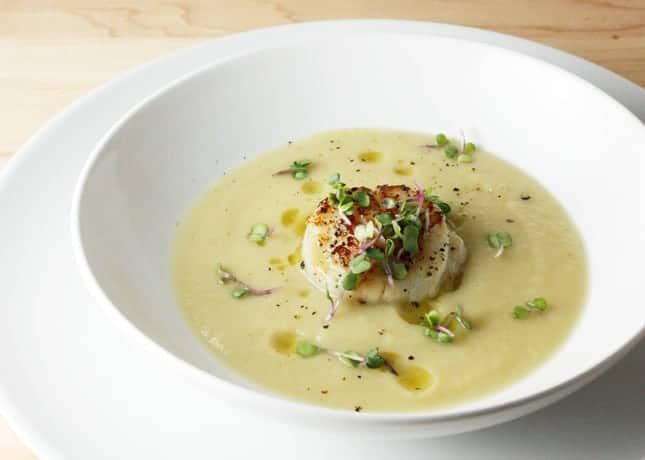 Parsnip, Pear and Maple Soup with Seared Scallops // FoodNouveau.com
