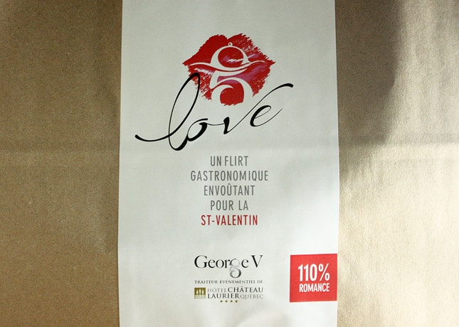 """Love"", a take-out gastronomic menu by George V, the caterer at Quebec City's Hôtel Château Laurier // FoodNouveau.com"
