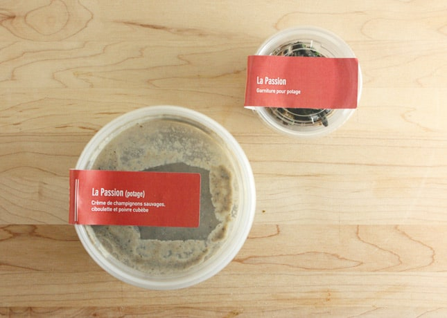 Cream of wild mushrooms, part of the George V gastronomic take-out menu // FoodNouveau.com