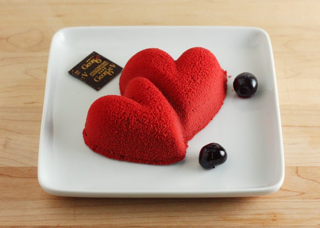 Chocolate and Cherry Melting Hearts, the final dish in the George V gourmet take-out menu // FoodNouveau.com