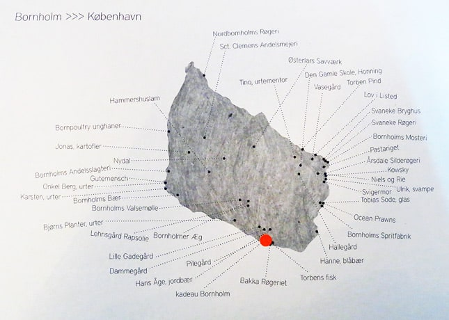 Map of Bornholm in the menu of Kadeau Restaurant, Copenhagen // FoodNouveau.com