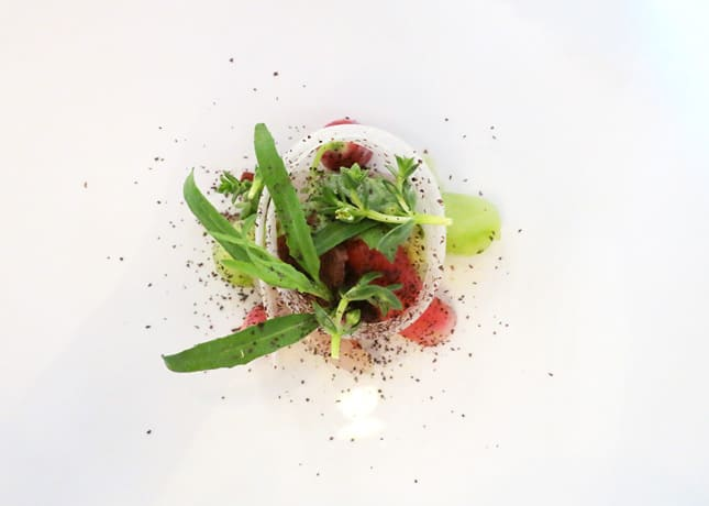 Salted mackerel with fresh rhubarb, miniature radishes, and lovage, Kadeau, Copenhagen // FoodNouveau.com