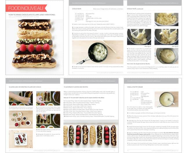 A sneak peek at a downloadable 20-page guide to making chocolate éclairs at home // FoodNouveau.com