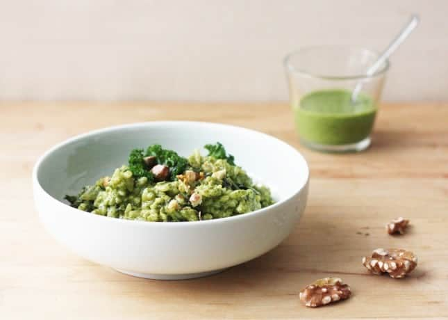 Kale and Walnut Pesto Risotto // FoodNouveau.com