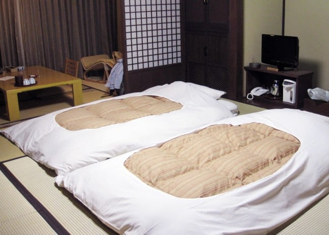 Futons set up for the night at a ryokan (Japanese inn) // FoodNouveau.com