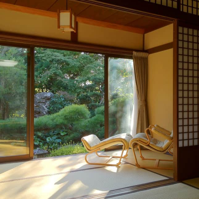 The serene sitting area of a guestroom at Seryo, a ryokan (Japanese inn) in the Ohara region of Japan, an hour north of Kyoto. // FoodNouveau.com