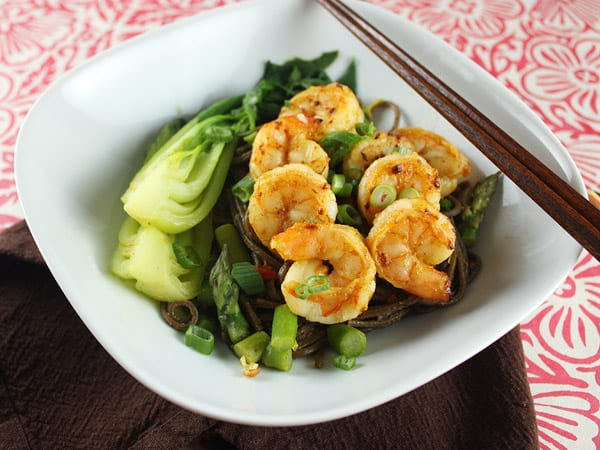 Spicy Curried Shrimp and Noodles with Green Vegetables // FoodNouveau.com