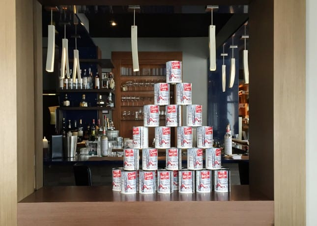 A display of classic Quebec maple syrup cans at restaurant Laurie-Raphaël, Quebec City // FoodNouveau.com