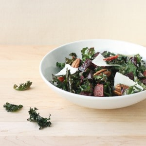 Crispy and Raw Kale, Beets, and Pecan Salad // FoodNouveau.com