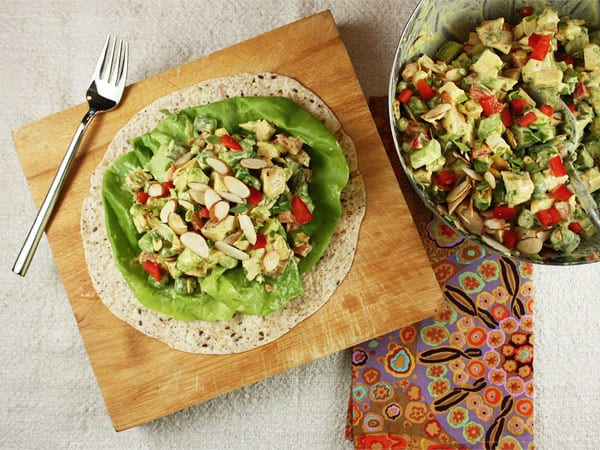 Curried Chicken Salad with Asparagus and Almonds // FoodNouveau.com