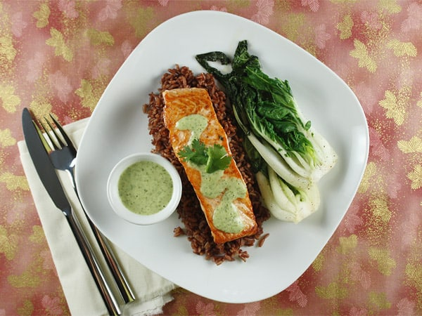 Salmon with Wasabi Sauce and Baby Bok Choy // FoodNouveau.com