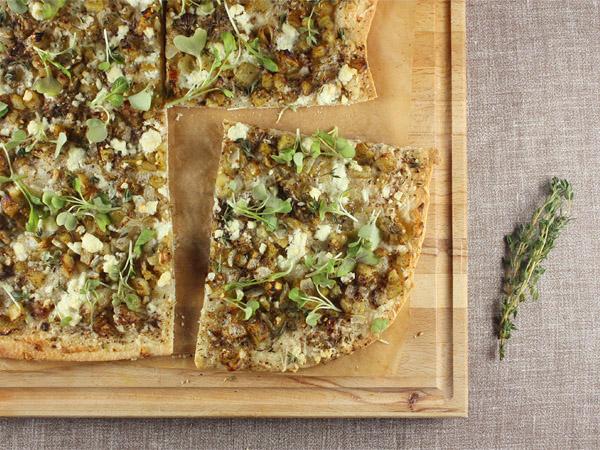 Za'atar, Feta, and Roasted Eggplant Pizza // FoodNouveau.com
