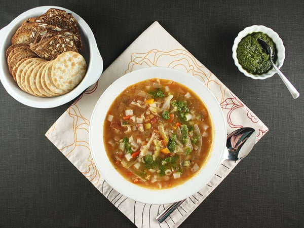 Beans and Vegetable Soup with Pesto // FoodNouveau.com