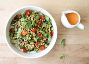 Black Olives and Arugula Israeli Couscous Salad with Roasted Cherry Tomato Vinaigrette // FoodNouveau.com