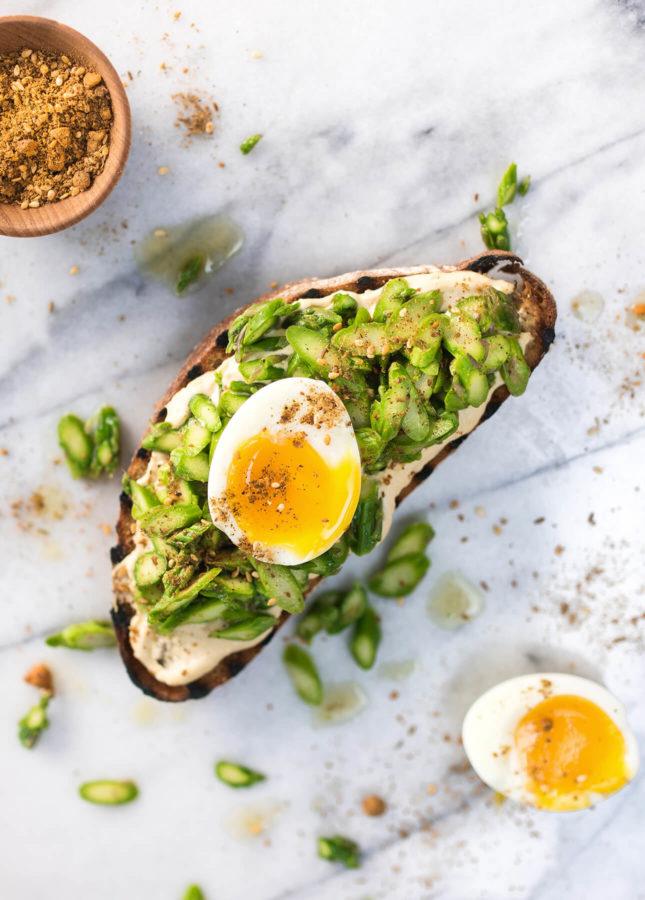 Dukkah, Soft-Boiled Egg, and Fresh Asparagus Tartine // FoodNouveau.com